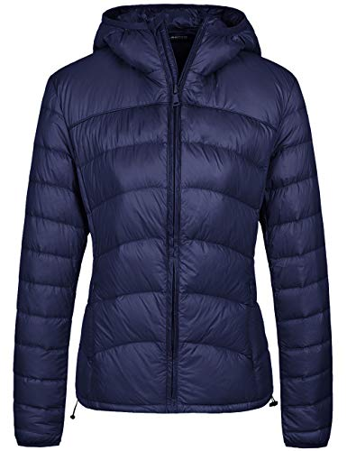 Wantdo Women's Packable Lightweight Chevron Down Jacket with Hood Navy S