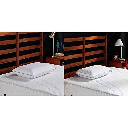 Tempur-Pedic TEMPUR-Cloud Breeze Dual Cooling Pillow, Queen & TEMPUR-CloudProHiPillow, Queen, White