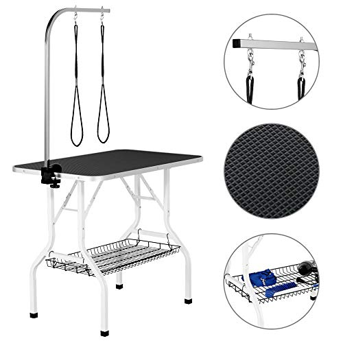 YAHEETECH Pet Dog/Cat Grooming Table Foldable Height Adjustable - 36-inch Drying Table for Home w/Double Loops/Mesh Tray Maximum Capacity Up to 220lbs Black