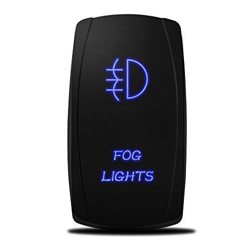 MicTuning LS081602JL, Backlit Fog Lights Rocker Switch Kit, On/Off LED Light, 20A 12V Toggle, Blue