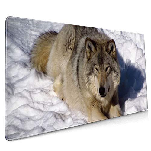 Noord-Amerikaanse houten wolf sneeuw wolven winter muis pad niet slip rubber groot Gaming toetsenbord mat 15.8x35.5 in
