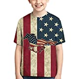 American Flag Patriotic Horse Boys Children Youth Tshirt Tops Casual Clothing Cool Clothes Black