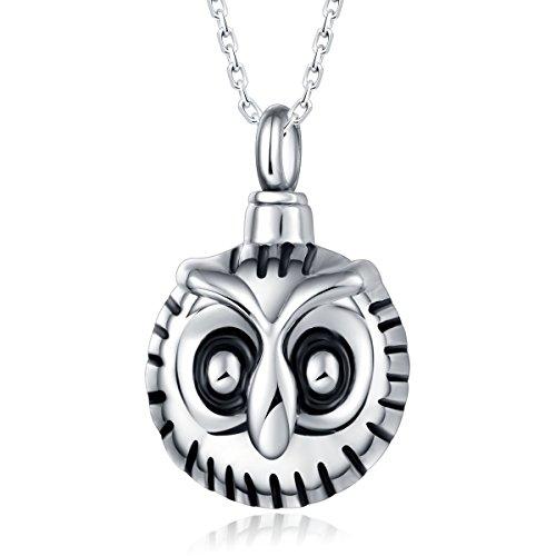 Preisvergleich Produktbild Quiges Edelstahl Memorial Cremation Urn Anhänger Esche Halter Eule Vogel für Einäscherung mit verstellbare Halskette 46-52cm
