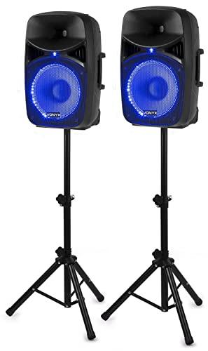 Vonyx VPS122A Sistema de Sonido Altavoces Activos de 800 W de 12 Pulgadas, Bluetooth, Reproductor MP3, tripodes y LED