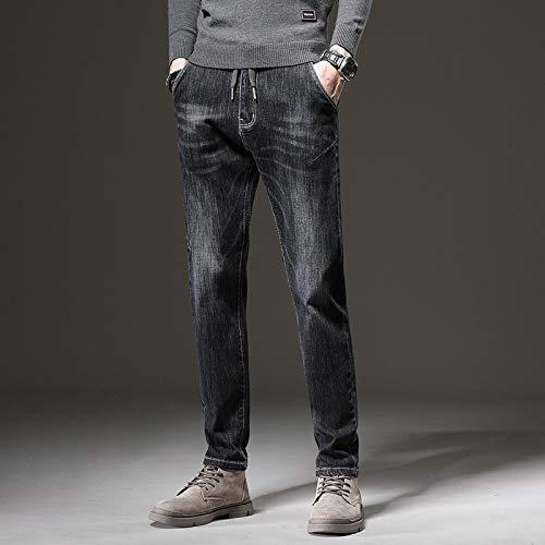 Vaqueros para Jeans Pantalones Moda Hombre Jeans Invierno Pantalones Casuales Bordado De Letras Pantalones Largos Rectos Pantalones De Hombre 36 Negro