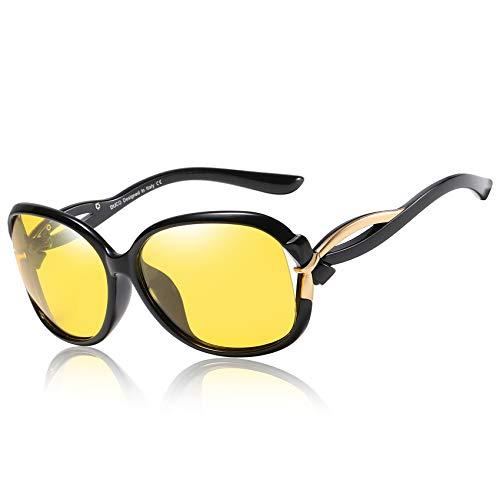 DUCO Damen HD nacht brille für autofahrer frauen Elegante Ovale Nachtfahrbrille 2229Y (Schwarz)