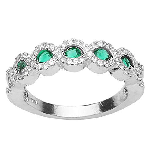 Weryffe Stilvolles Design Ringe Trendy Braut Hochzeit Jubiläum Ringe Kreativen Schmuck Geschenk Für Frauen Mädchen (Grün 7)