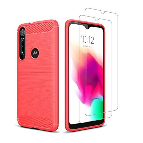 Kit Danet Capa Capinha Anti Impacto Para Motorola Moto G8 Play Tela 6.2Case Com Desenho Fibra De Carbono E 2x Película De Vidro Temperado (Vermelho)