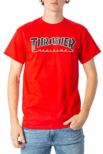 THRASHER T-Shirt Outlined Rosso (L, Rosso)