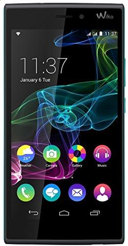 Wiko Ridge 4G Dual-Sim Smartphone (5 Zoll (12,7 cm) Touch-Bildschirm, 16 GB Speicher, Android 4.4.4) schwarz / türkis