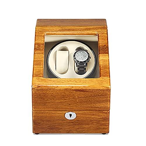Enrollador de reloj para 2 + 3 relojes automáticos Cojines de reloj ajustables en carcasa de madera y cuero de color café negro con ajuste de 5 modos de rotación Cuero de microfibra apto para dama