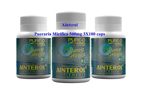 PUERARIA MIRIFICA 500mg Capsules Natural Breast & Butt Enlargement The New Formula Strong Variety 3 X Bottle