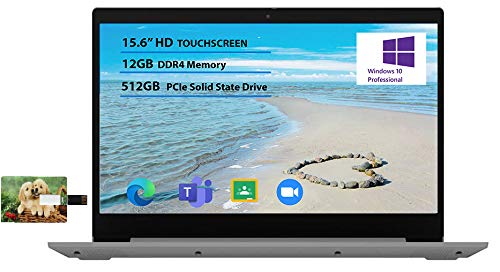 Product Image 1: 2021 Lenovo IdeaPad 3 15.6″ HD Touchscreen Laptop Intel Core i5-1035G1 12GB RAM 512GB PCIe SSD Intel UHD Graphics, for Business and Education Online Class Webcam, Win 10 Pro | 32GB TELA USB Card