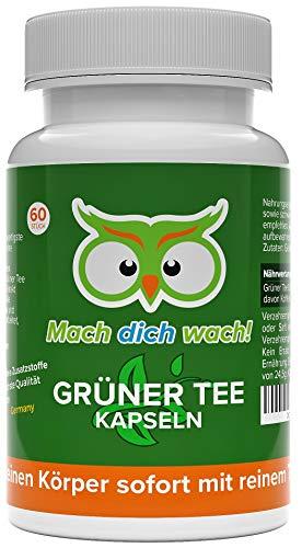Grüner Tee Extrakt Kapseln - hochdosiert - 100mg natürliches Koffein / Kapsel - Deutsche Qualität - kleine Grüntee Kapseln statt große Koffeintabletten - Guarana Alternative - Mach dich wach!®