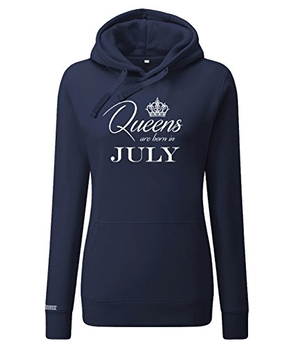 Queens Are Born in July - Sudadera con capucha para mujer azul marino S
