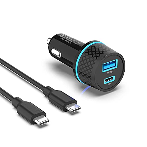 Superer USB-C KFZ Auto Schnellladegerät Passend für Samsung Galaxy S10 S10e S9 S8 Note 10 9 8,A51 A71 A41 A21 A21s A20e A50 A12,Power Delivery 3.0&QC3.0 mit 1m Ladekabel