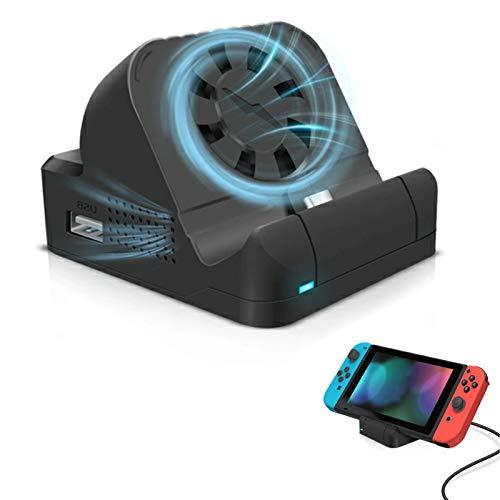 Switch用 ドック Chayoo 冷却ファン付き 放熱対策 LEDライト付き TV出力 切り替え 直接にTV出力 アダプター ドック替換 スイッチ ミニドック 充電スタンド 三つのUSBポート&Type-Cポート HDMI変換/TVモード/テーブルモード対応 日本語取扱説明書付き