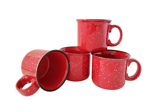 14oz Ceramic Campfire Mug by Essential Drinkware (Set of 4), Red with Speckled Finish - Durable Thick Walled Camping Style Coffee Cup for Outdoors or Home