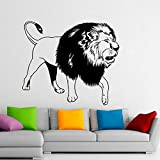 hetingyue Fashion Animal Lion House Ornament King Vinyl Wall Art Design Sticker Home Decoration Living Room Decal Removable Mural 48x42cm