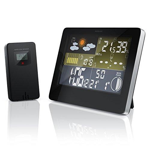 Bearware - Stazione meteorologica Wireless con Display a Colori - incl. sensore Esterno - Segnale di Ricezione DCF - Orologio atomico