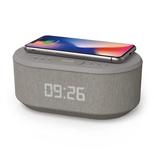 Nachttisch-Radiowecker mit USB-Ladegerät, Bluetooth-Lautsprecher, QI kabelloses Laden, Dual-Alarm, dimmbares LED-Display (Grau)