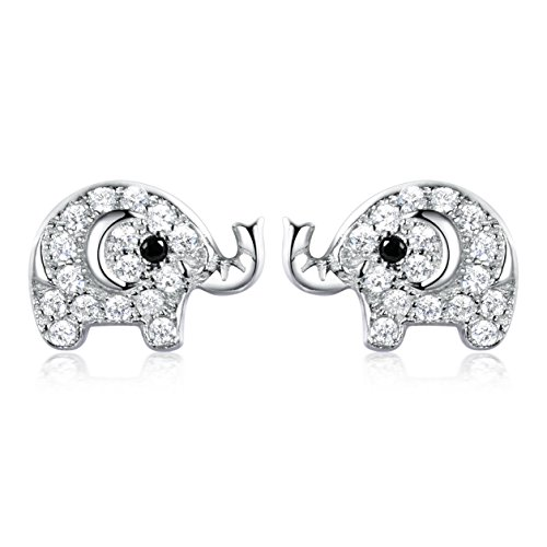 SELOVO 925 Sterling Silver Cubic Zirconia Lovely Baby Stud Earrings for Child Girls Child (Elephant)