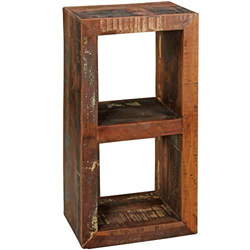 WOHNLING Bücherregal Kalkutta 45 x 35 x 90 cm , Massivholz Regal mit 2 Ebenen , Cube Beistelltisch Wohnzimmer , Standregal Shabby-Chic
