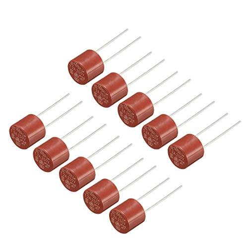 sourcing map 10 x DIP-montierte Miniatur-Zylinder-Sicherung, träge Blase, Mikro-Sicherung, T2A, 2 A, 250 V, rot