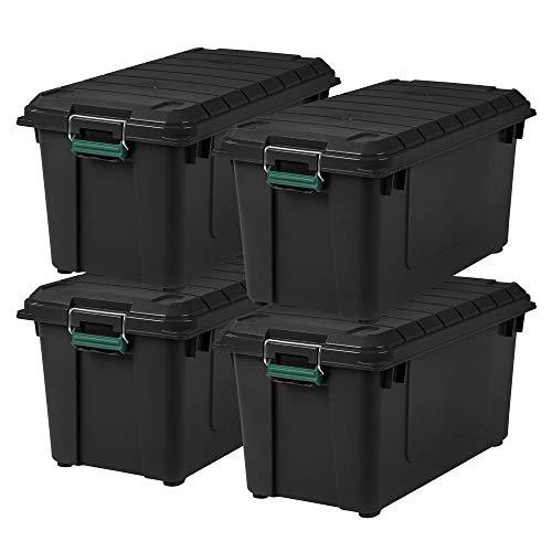 Remington 82 Quart WEATHERTIGHT Storage Box, Store-It-All Utility Tote, 4 Pack, Black