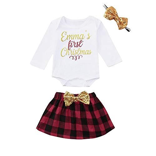 HOMEBABY Peuter Baby Meisje Jongen Kerstman Kerst Letter Print Romper+Bow Rok+Hoofdbanden Outfits Familie pyjama Lange mouwen Tops
