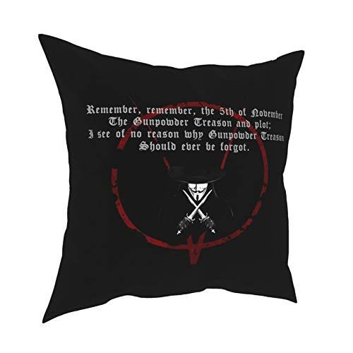 Funda de almohada para Ven-detta Guy Fawkes ma-sken Vertigo negro con cadena Steve Moore funda de almohada para cumpleaños con sala de estar a prueba de polvo, juego de cama, oficina 45,7 x 45,7 cm