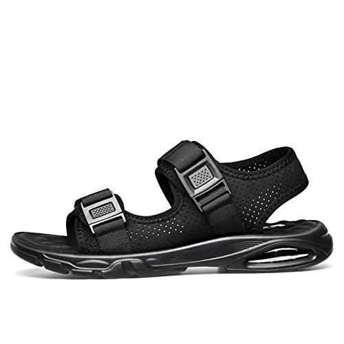 WENJIA Playa Casual Sandalia para Hombres Tela Hook Bucle Correa Hebilla Zapatos Abre Toe Air Cushion Deporte Sandalias Transpirable (Color : Black, Size : 38 EU)