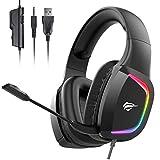 havit headset für PS4, RGB Gaming Headset für PC, Xbox One, Laptop, Kabelgebundenes Kopfhörer mit Stero Sound 50MM Treiber und Mikrofon Mute, H2025d