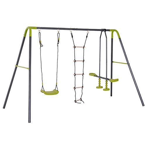 homcom Stand Bambini 3 in 1 con Altalena Cavalluccio e Scaletta in Metallo Resistente 215/295x138x180cm Verde