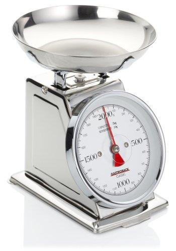 GASTROBACK 30102 Classic Waage, 2 kg, Küchenwaage, analog, mit Wiegeschale, poliert, Edelstahl Silber