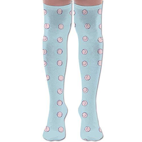 Bolas de tenis de algodón sobre la rodilla calcetines altos de muslo calcetines largos de tubo para deportes, yoga, senderismo, ciclismo, correr, fútbol
