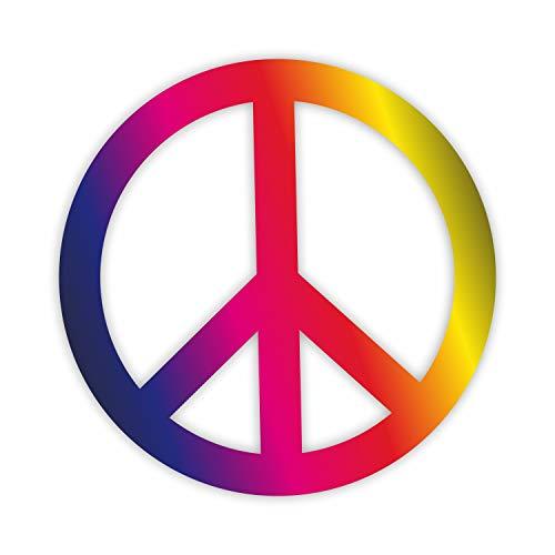 easydruck24de 1 Sticker Peace Zeichen bunt I kfz_261 I Ø 10 cm I Flower-Power Peace and Love I Auto-Aufkleber Bulli Roller Fahrrad Notebook Laptop wetterfest