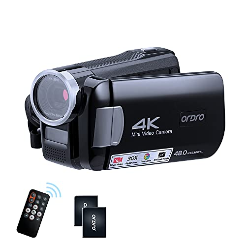 ORDRO 4K Camcorder Video Camera IR Night Vision Vlogging Camera Recorder Full HD 1080P 60FPS 3.0 Inch IPS Touch Screen YouTube Vlogging Camcorder for Beginners with 2 Batteries