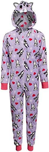 Sleep & Co Girls Plush Onesie Pajamas with Character Hood, Lilac Bulldog, Size 14/16'