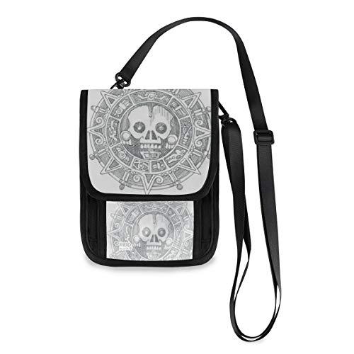 Reise-Halstasche mit Piraten-Motiv, Violett Mehrfarbig Piraten Münze Skizze ?? 8 Einheitsgröße