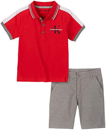 Calvin Klein Boys' 2 Pieces Polo Shorts Set, Red, 3T