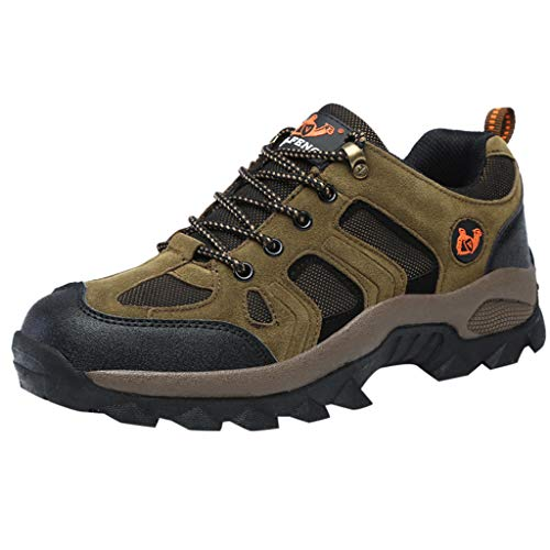 Fheaven Men's Military Tactical Work Boots Waterproof Non-Slip Shoes Outdoor Hiking Shoes Walking Shoes Brown