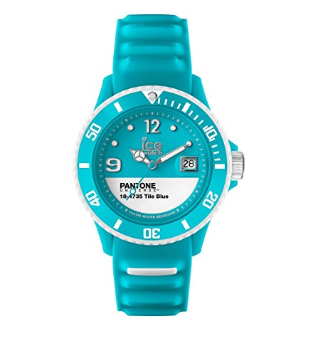 ICE-Watch - PAN.BC.TIB.U.S.13 - Pantone Universe - Tile Blue - Montre Mixte - Quartz Analogique - Cadran Bleu - Bracelet Silicone Bleu