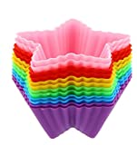 Reusable Silicone Baking Cups, Star Cupcake Liners (3 in, 12 Pack)