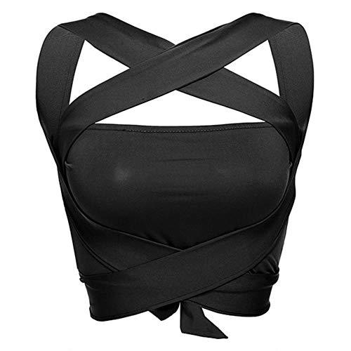 Cherxq - Sujetador para mujer con tirantes cruzados, sin espalda, A1., medium