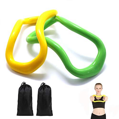 Riveryy 2 Pezzi TPE Pilates Ring Circle Anello Yoga Ring Strumento di Allenamento per Tonificare Cosce, Addominali E Gambe, Ottimo per Yoga, Mobilità, Attrezzatura per Lo Stretching (Verde E Giallo)