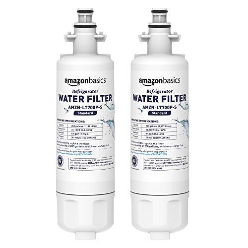 Amazon Basics - Filtro de agua de repuesto para el frigorífico LG LT700P - Filtración Estándar - Paquete de 2