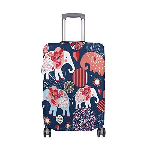 Boho - Funda Protectora para Maleta de Viaje con diseño de Elefante y Flores, de Spandex, para Maletas de 18 a 20 Pulgadas