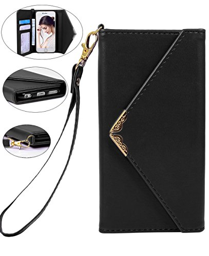 Crosspace iPhone 6 Wallet Case, iPhone 6s Envelope Flip Handbag Shell Women Wallet PU Leather Magnetic Folio Cover Cases with Credit Card ID Holders Wrist Strap for Apple iPhone 6/6s 4.7inch-Black