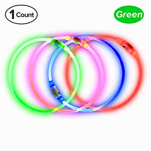 BSeen LED Dog Collar, USB Rechargeable, Glowing Pet Dog Collar for Night Safety, Fashion Light UP...